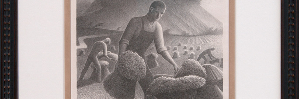 Grant Wood Lithograph of Man With Wheat Harvest